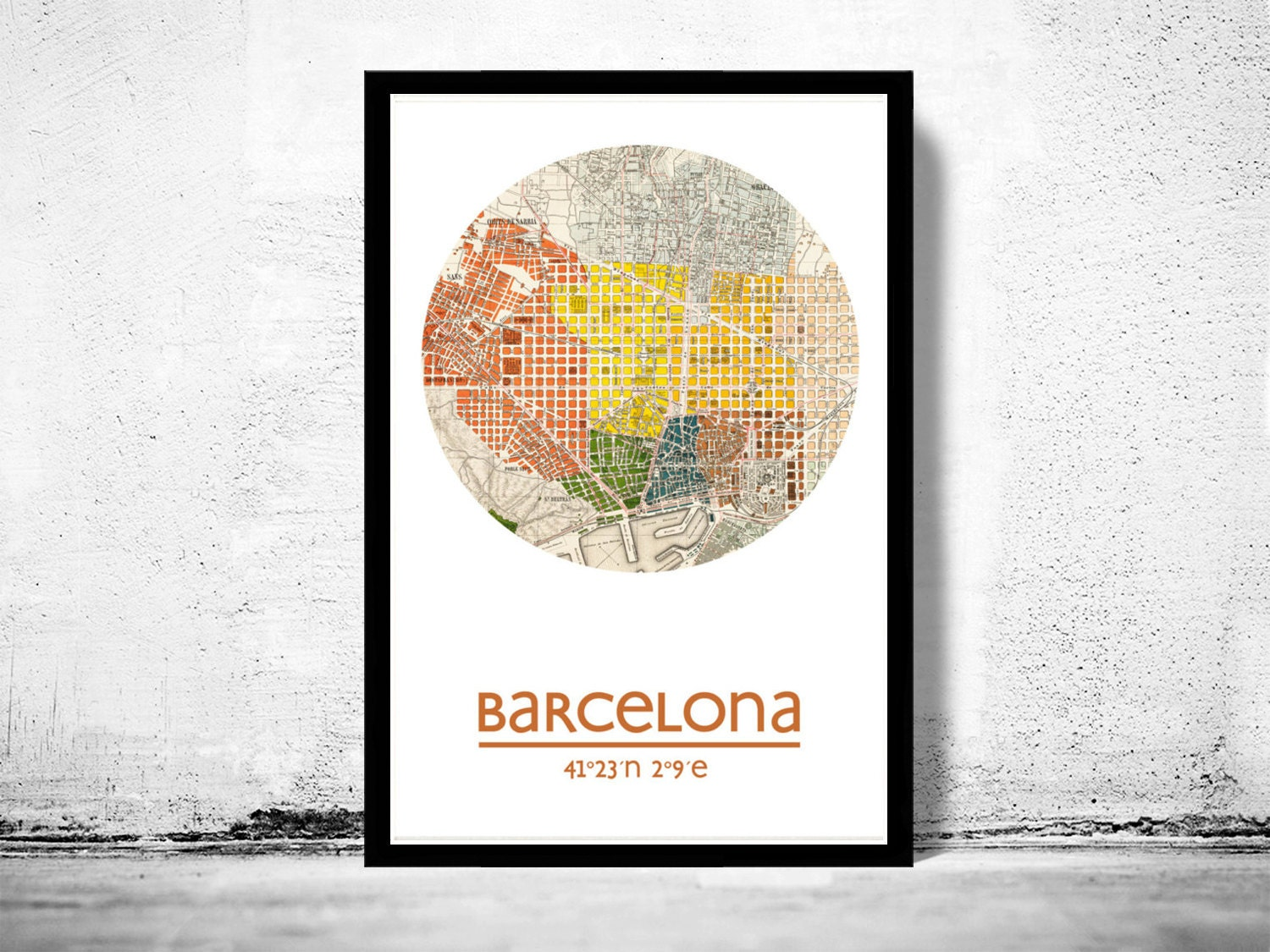 barcelone affiche de ville ville carte copie daffiche. Black Bedroom Furniture Sets. Home Design Ideas