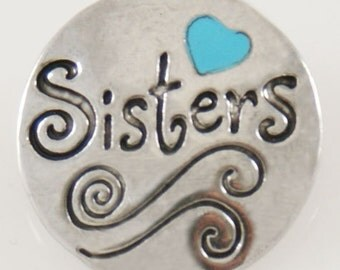 KB7752  Sisters with Turquoise Heart and Black Enamel Etching