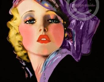Art Deco Dream Girl Print, Seductive Blond Beauty, Irresistible Perfume Girl, Glamour Girl, Zoe Mozert, Giclee Art Print, 16x20, 1936