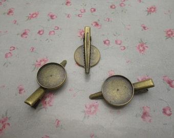 30pcs antique bronze color 45mm metal alligator clip with 18mm glue pad , HA3030-30