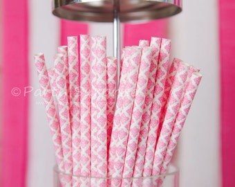 Pink straws Paper Damask,Pink and White Damask Paper Straws,Wedding Straws,Baby Shower Straws Princess Straws,Vintage Pink Party Straw