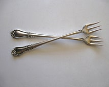 Antique 1907 Kenwood Pattern Oneida Silverplate Cocktail/Seafood Forks, Two