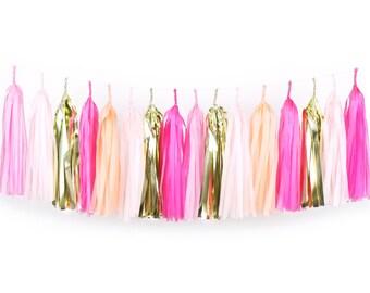DIY Tassel Garland Kit - Pink Party - Hot Pink, Peach, Blush, Light Pink, Gold Paper Room ...