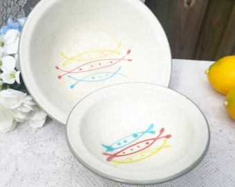 2 Mid Century Harkerware Stone China Bowls, Serving, speckled, decorative, Stoneware cottage chic, cabin