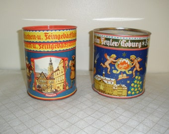 Vintage German Fyler Lebkuchen Cookie Biscuit Tins - Set of 2