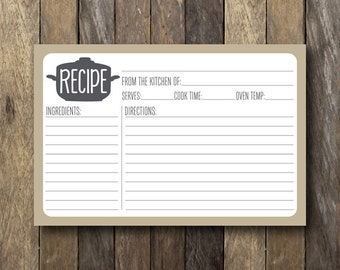 Instant Download Recipe Card - Printable 4x6 Recipe Cards - Simple Recipe Card