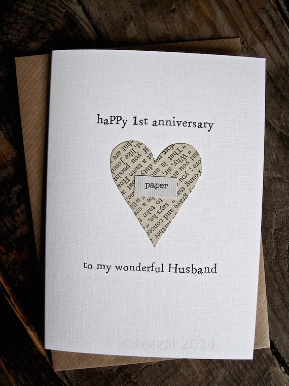 1 Year Anniversary Gifts For Husband Paper : 1st Anniversary Card PAPER Husband Wife First anniversary Keepsake ...