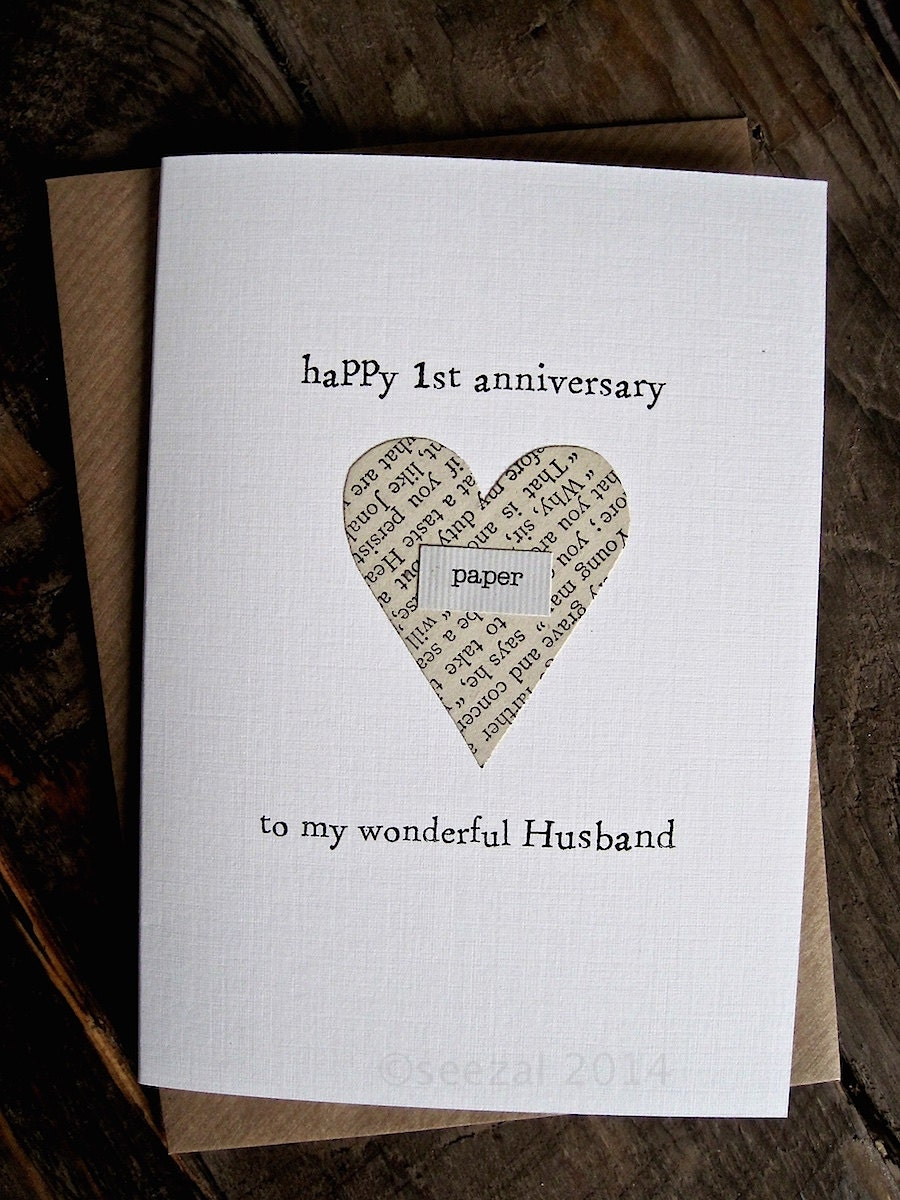 1st anniversary card paper husband wife first anniversary. Black Bedroom Furniture Sets. Home Design Ideas