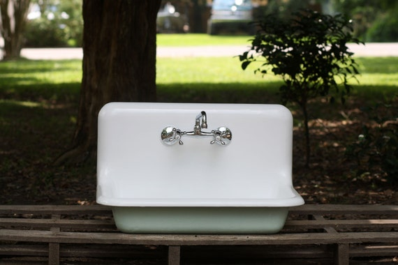 Farmhouse Drop In Sink : ... Drop In Farm Sink Wall Mount High Back Cast Iron Porcelain Farmhouse
