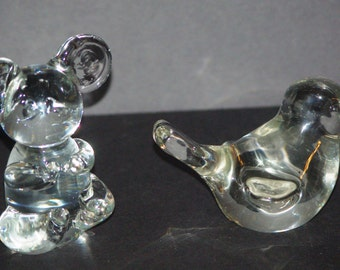 Clear Glass Mouse and Chickadee Figurine or Paperweights, 1970s