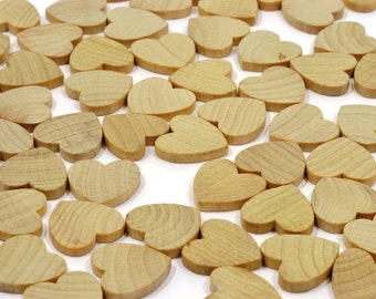 """500 or 1000 (3/4"""") Small Wooden Hearts-3/4 x 3/4 Inch-Unfinished Hardwood-Wedding Table Decorations-HRT7500"""