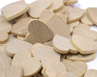 "100 - 200 (1"") Wooden Hearts-1"" x 1"" Unfinished Hardwood-Wedding Table Decorations-Valentine Hearts-Name Tags"