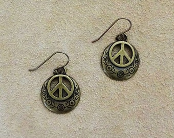 Bronze Peace Sign Earrings,Boho Chic jewelry, Peace sign jewelry