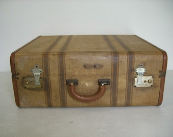 Vintage Striped Tweed Suitcase / Luggage.