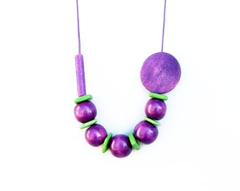 Purple and Apple Green Geometric Necklace / Wooden Necklace / Wood and Ceramic Necklace / Boho Necklace / Long Necklace
