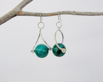 Chrysocolla Earrings / Blue and Green Stone Earrings / Silver Earrings / Natural Stone / Dangle Earrings