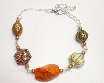 Mixed Bead Bracelet | Orange Tones | By Lilly Rose