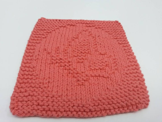 Items similar to Tangerine Dishcloth, Knitted Butterfly Dishcloth, Knit Cotto...