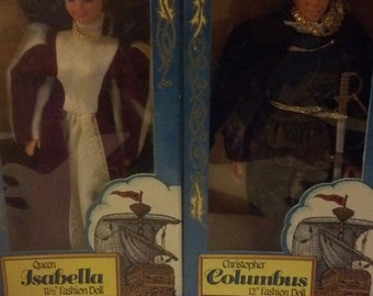 Christopher Columbus and queen Isabella Vintage dolls