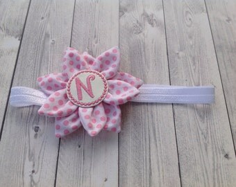 Personalized baby headband Flower Dots