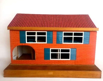 Vintage Handmade Wooden Dolls House with Furniture