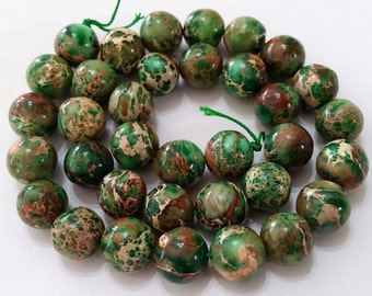 "Sea Sediment Jasper, Impression Jasper, Gemstone, Jasper, Bead, Jewelry, Supply, Smooth, Round, Bead Strand, 15.5"" full strand, Green"