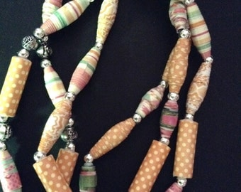 Paper Bead Necklace/Mixed-Media, Silver-Toned Etched Rosettes and Spacer Beads
