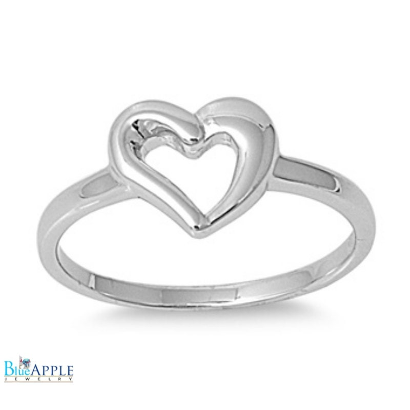 Heart Wedding Engagement Anniversary Promise Ring Simple
