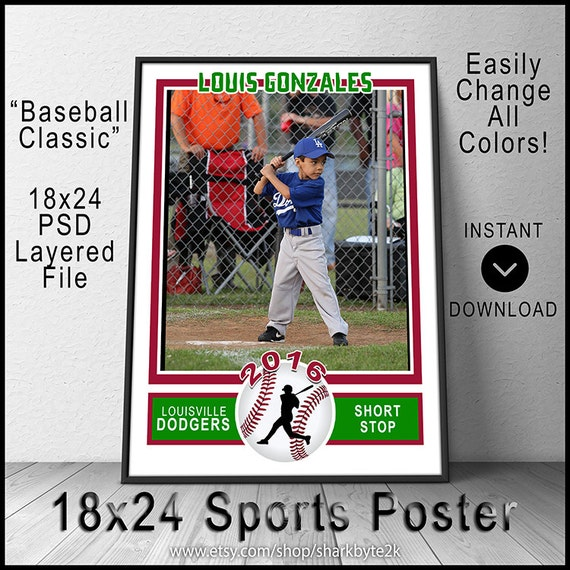 2017 baseball poster template for photoshop 18x24 size create for Baseball card size template