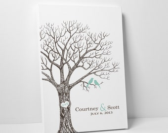Our Wedding Tree Wedding Gift Guestbook alternative tree poster Thumb Prints Tree guest book alternative with Love Birds, for 50-90 guests