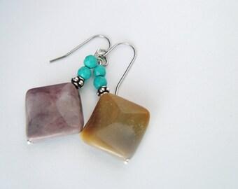 Genuine turquoise and mookaite dangle earrings Turquoise earrings Boho earrings Gemstone jewelry Bohemian gemstone earrings Gift for her