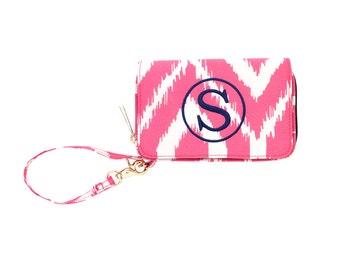 Pink Ikat Wristlet*Bridesmaid Gifts*Teachers*College*Graduation*Monogram Wristlet*