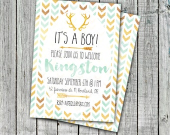 Baby Shower Invitation, Printable Invitation, It's a boy, Welcoming, Baby Boy, Mint and Gold, Arrows, 4x6 or 5x7 #9