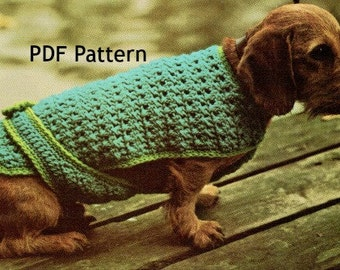 Vintage Small Dog Poodle Sweater Jacket Crochet Pattern