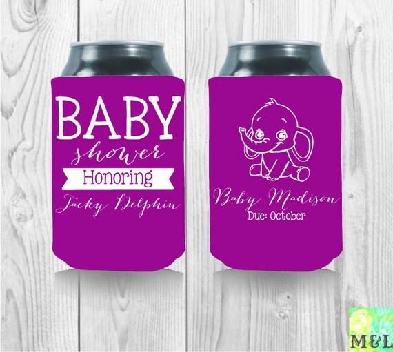 personalized baby shower honoring mom to be koozies
