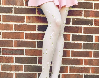 White floral tights with little green and pink flowers on it - A MUST HAVE in Summer