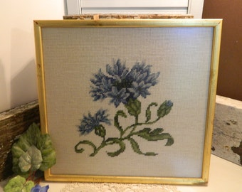 Vintage Needlepoint Blue Flower Picture in Wood Frame