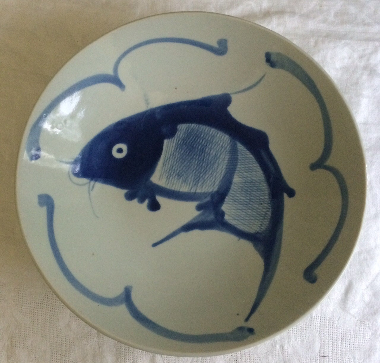 Vintage chinese painted porcelain white and blue koi fish for Blue and white koi fish