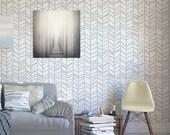 Herringbone hand drawn - Decorative Scandinavian stencil for walls - Large stencils - Wallpaper look - Easy home decor