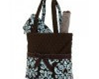 Brown with turquoise blue damask pattern 3pc diaper bag set. large. Changing pad, necessities pouch, & diaper bag. Custom embroidered