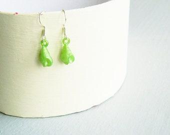 Handmade green conch sea shell silver tone earrings