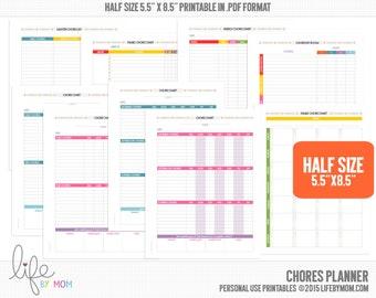 CHORE CHARTS 5.5 x 8.5 Printable Chore Chart Filofax A5 binders, kikki.K planners, Arc Notebooks, Discbound Inserts, Daytimer Planners