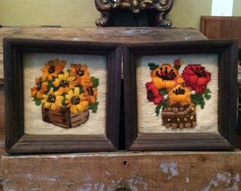Pair of Vintage Framed Crewel Flower Wall Hangings Daises Pansies