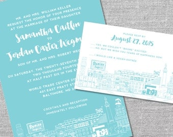 Printable Wedding Invitation and Reply Card | 5x7/4x6 | Baltimore Skyline | Charm City Invitation
