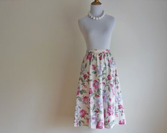 SALE Whitsunday Skirt | Vintage 1980s Floral Skirt | Ruched Full Skirt in White, Blue & Pink | SMALL to MEDIUM