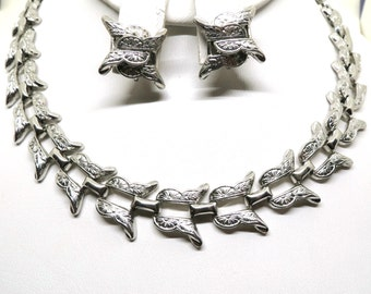 Silver Jewelry Set - Vintage, Marino Signed, Silver Tone, Etched Necklace and Earrings Set