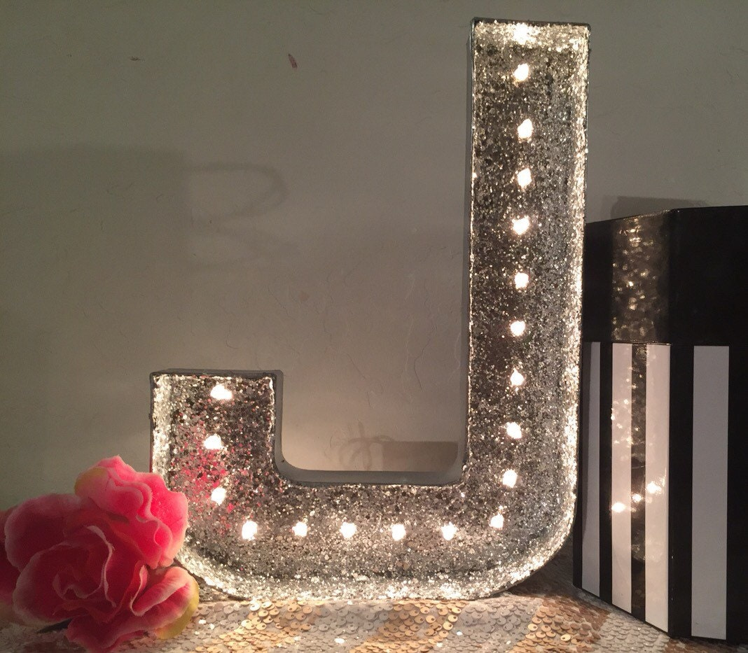 Gold Lit Letters Glitter Marquee Lettergold Glitter Light Up Letterglittered