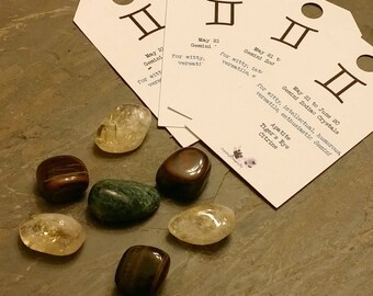 "Zodiac ""Gemini"" Crystal Astrology Grid - Apatite, Citrine & Tiger's Eye"
