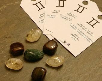 """Zodiac """"Gemini"""" Crystal Astrology Grid - Apatite, Citrine & Tiger's Eye"""