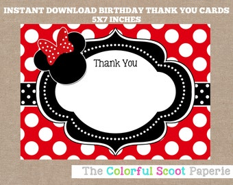 Minnie Mouse Thank You Card, Disney, Disney Thank You Cards, Minnie Mouse Thank You Note, Red, Black (#245)